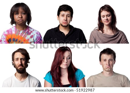 Many sad faces from our group of six people - stock photo