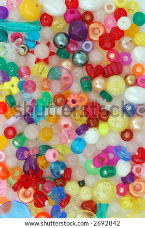 many shapes of colorful beads - stock photo