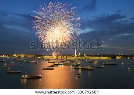 Many ships and boats on Neva river and fireworks at night in St. Petersburg, Russia - stock photo