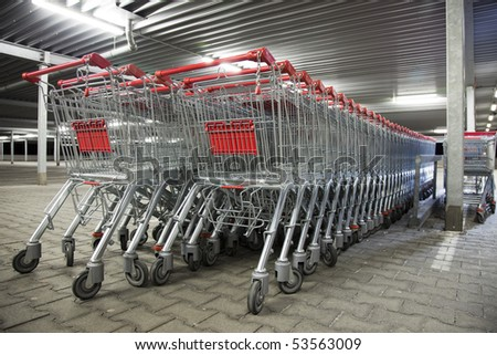many shopping carts - stock photo