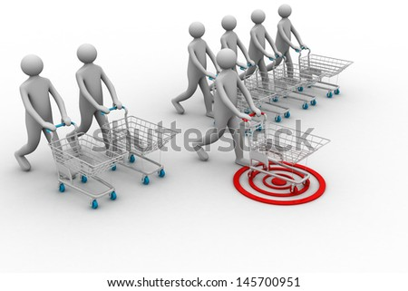 many shopping carts. 3d render