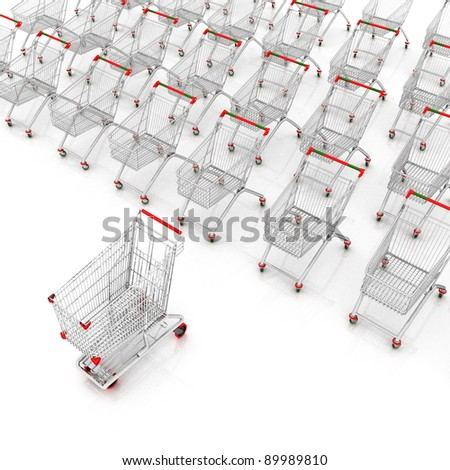 many shopping carts. 3d render. - stock photo