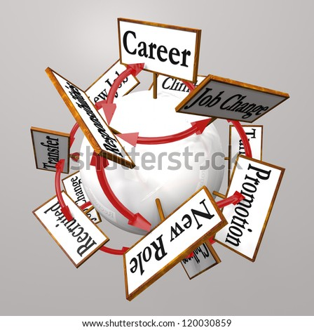 Many signs around a sphere with words such as career, transfer, promotion, job change, opportunity, new job, role, recruited and more - stock photo