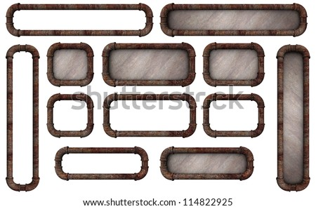 Many sizes of rusty pipe frames with and without backgrounds good for buttons or signs