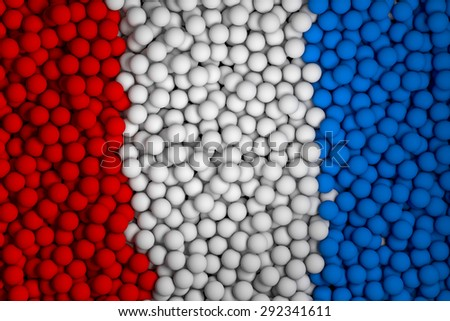Many small colorful balls that form national flag. 3d render image. - stock photo