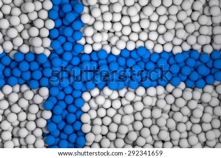 Many small colorful balls that form national flag of Finland. 3d render image. - stock photo