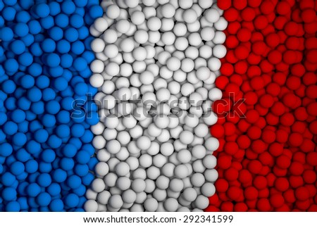 Many small colorful balls that form national flag of France. 3d render image. - stock photo