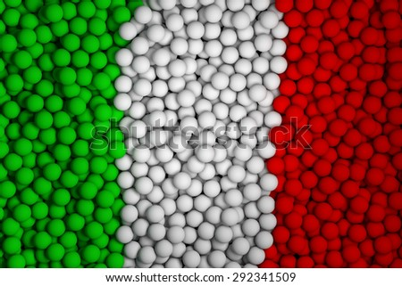 Many small colorful balls that form national flag of Italy. 3d render image. - stock photo