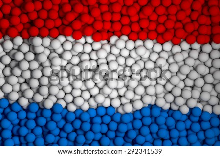Many small colorful balls that form national flag of Netherlands. 3d render image. - stock photo