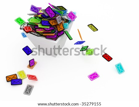 Many small 3d email message symbols in a square bin, isolated