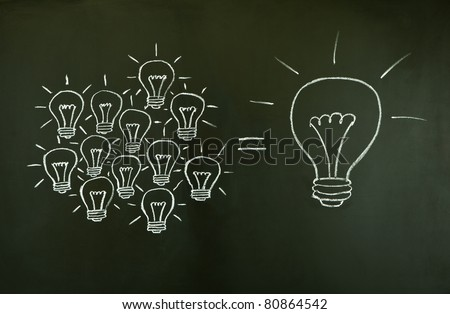 Many small ideas equal a big one, illustrated with chalk drawn light bulbs on a blackboard. - stock photo
