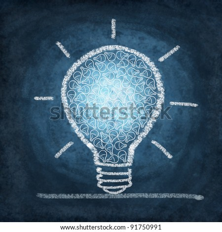 many small light bulb in light bulb drawing by chalk - stock photo