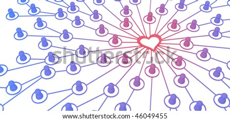 Many small symbolic 3d figures linked by lines, isolated - stock photo