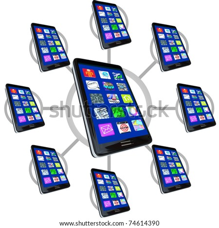 Many smart phones with apps in a communication network, representing the connections possible with mobile devices - stock photo