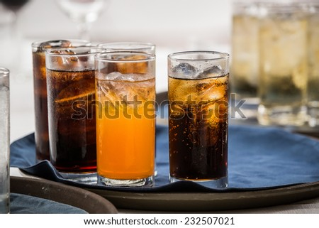 many soft drink are on a tray - stock photo