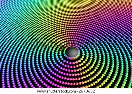 Many spheres in concentric rings with rainbow colors