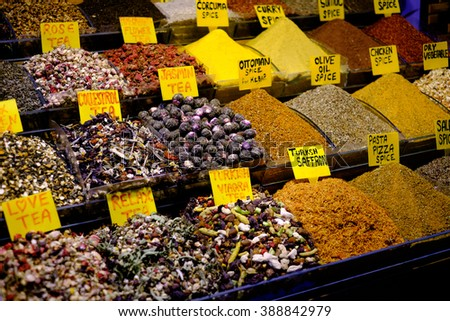 Many spices on a Turkish market, in Istanbul - stock photo