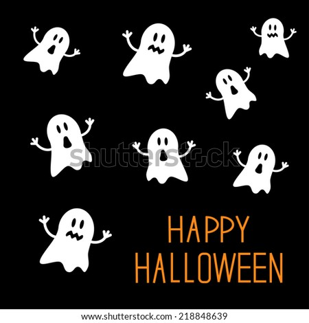 Many spook ghosts. Happy Halloween card. Flat design.  - stock photo