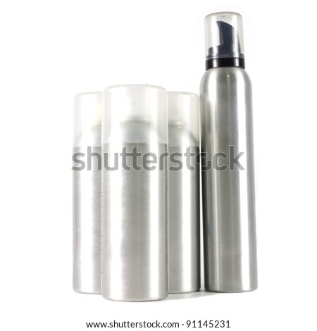 many spray can on white background - stock photo