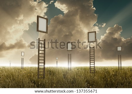 Many stairways in a meadow to suspended frame - stock photo