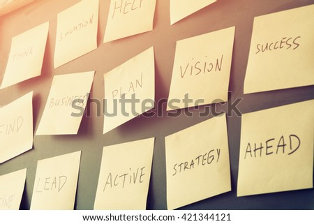 many sticky notes attached to blackboards with handwriting text, business and coaching concept