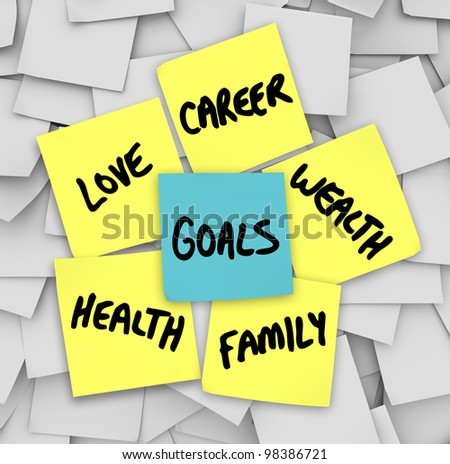Many sticky notes with your personal Goals written on them including love, family, career, wealth and health -- the elemetns of a successful, fulfilling life - stock photo