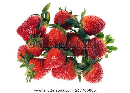 many Strawberries isolated over a white background / Strawberries - stock photo