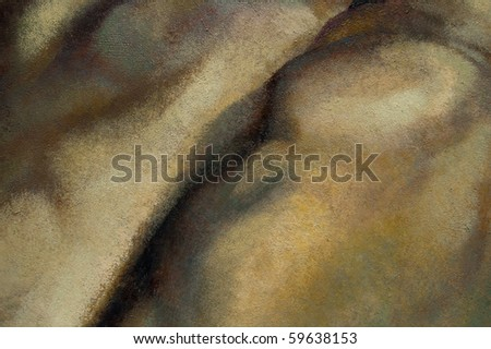 Many strokes of blue and other colors on a canvas - stock photo