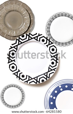 many style ,size and color of plates isolated on white background - stock photo