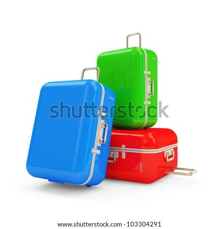 Many Suitcases isolated on white background - stock photo