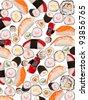 Many sushi pieces isolated on white background - stock photo