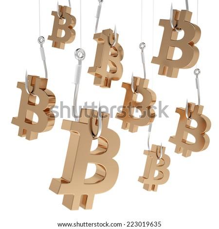 Many symbols bitcoin of gold on fishing hooks isolated on white background. - stock photo