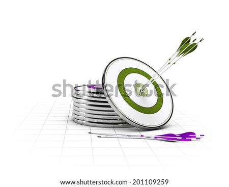 Many targets on the floor and on green target and three arrows in the center, concept of business objectives  - stock photo