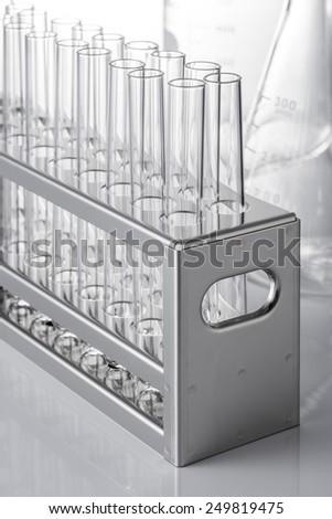 many test tube and experimental tool - stock photo
