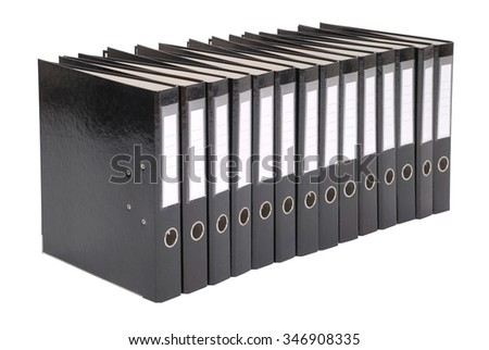 Many the big black folders on a white background  - stock photo