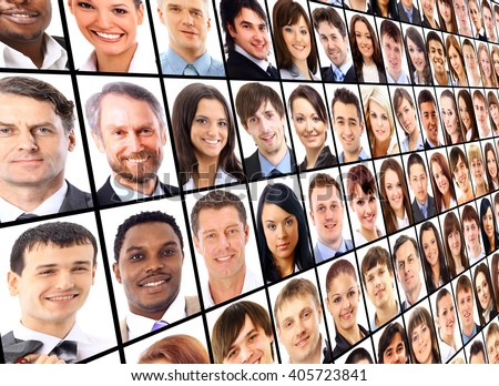 Many the isolated portraits of people - stock photo