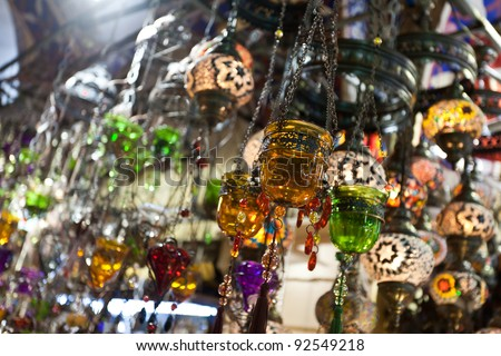 Many things are selling in Grand Bazaar (Grand Market) such as lamps or lanterns, Istanbul, Turkey. - stock photo