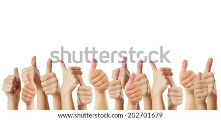 many thumbs up against white background - stock photo