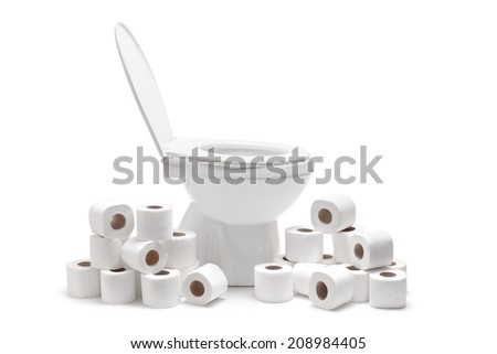 Many toilet paper rolls around a toilet bowl isolated on white background - stock photo