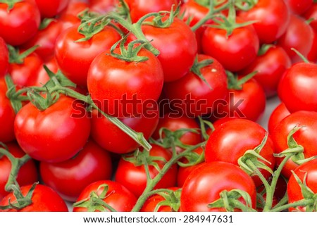 many tomatoes on market closeup