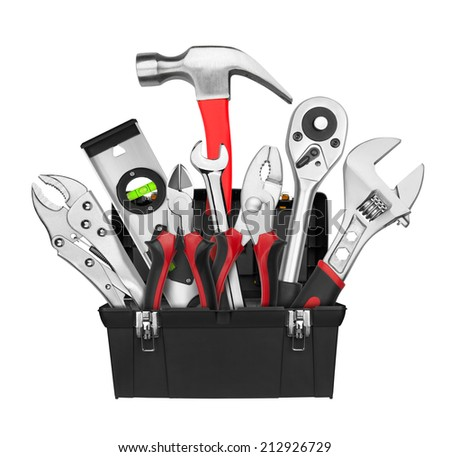 Many Tools in tool box, isolated on white background - stock photo