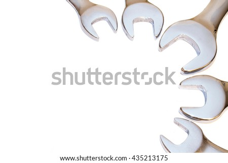 many tools isolated on the white background - stock photo