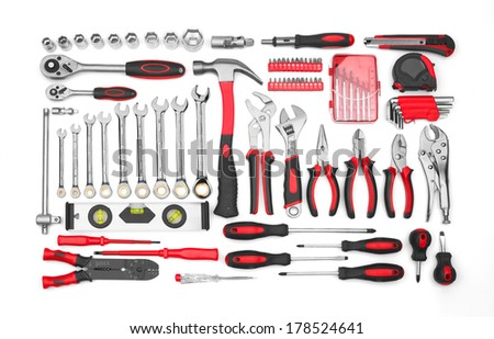 Many Tools isolated on white background - stock photo