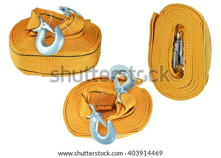 Many towing rope for car isolated on white background. Towing rope, towing rope, towing rope, towing rope, towing rope, towing rope, towing rope, towing rope, towing rope, towing rope, towing rope - stock photo