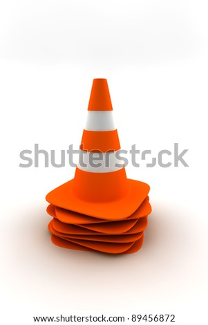 Many traffic cones on a pile - stock photo
