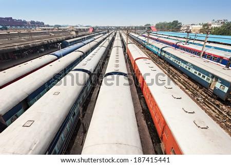 Many trains at train station, New Delhi - stock photo
