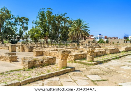 Many Tunisian towns boast archaeological sites and museums with Punic and Roman antiquities, EL Jem is not exception, Tunisia. - stock photo