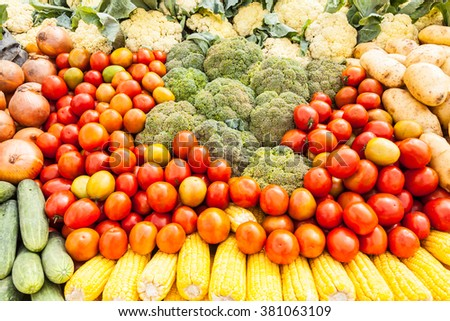 many types of vegetables on market