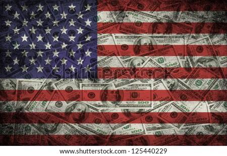Many US 100 dollars, USA flag, business background - stock photo