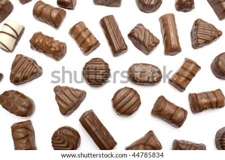 many variations of delicious chocolat bonbons isolated - stock photo
